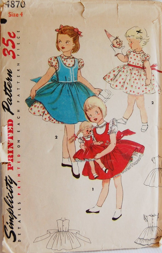 """Vintage 1950s Simplicity Girls' Jumper and Dress with Matching Doll Dress Pattern 4870 Size 4 (23"""" Chest) UNCUT"""