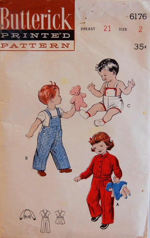 """Vintage 1950s Butterick Toddler's Sunsuit or Overalls and Jacket Pattern 6176 Size 2 (21"""" Chest)"""