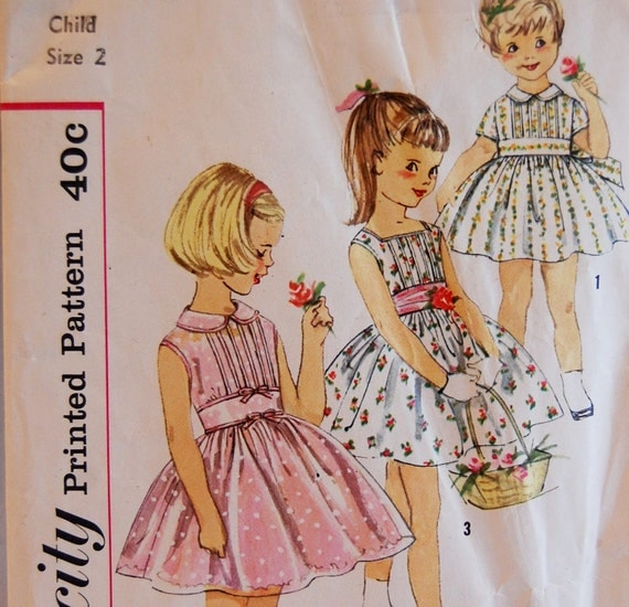 "Vintage 1950s or Early 60s Simplicity Girl's Dress and Cummerbund Pattern 2985 Size 2 (21"" Chest)"