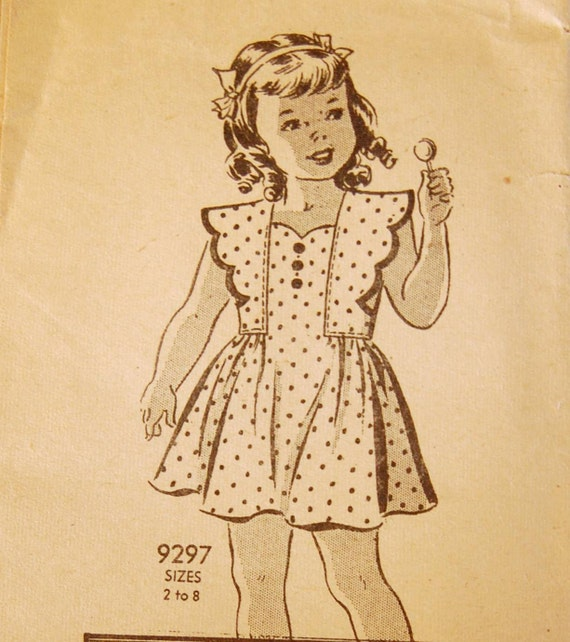 "Vintage 1930s or Early 40s Girls' Marian Martin Mail Order Dress Pattern 9297 Size 6 (24"" Chest)"