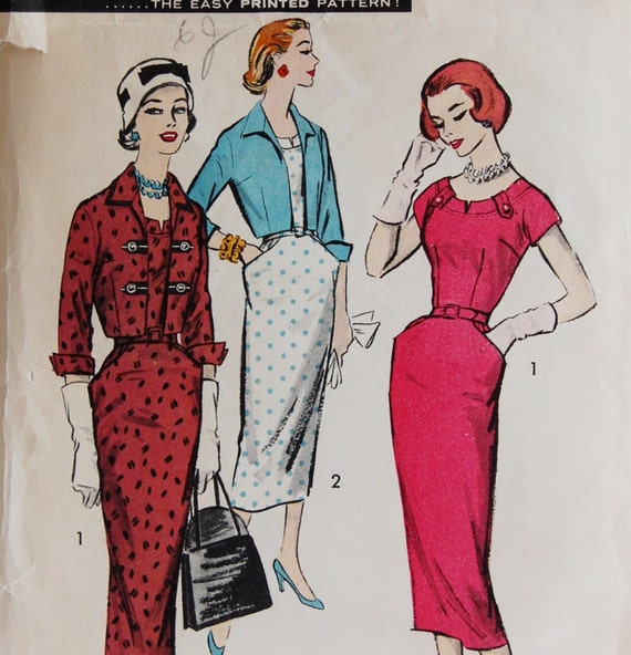 "Vintage 1950s Advance Misses' Dress and Bolero Pattern American Designer 8272 Size 14 (34"" Bust)"