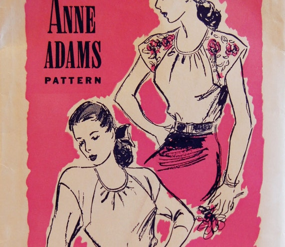 "Vintage 1940s Anne Adams Misses' Women's Blouse Pattern with Transfer 4942 Size 14 (32"" Bust)"