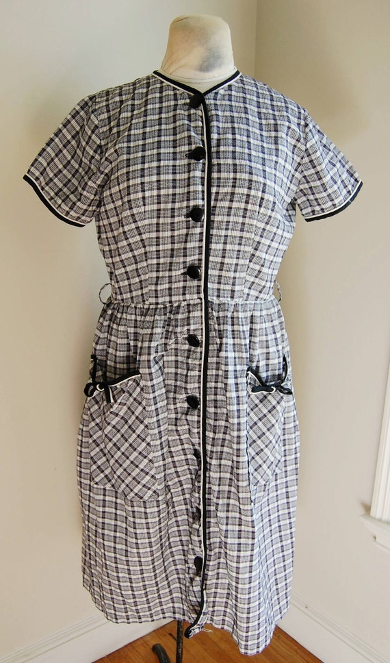 "Vintage 1950s Women's Carol Brent Black and White Check Day Dress (40"" Bust)"