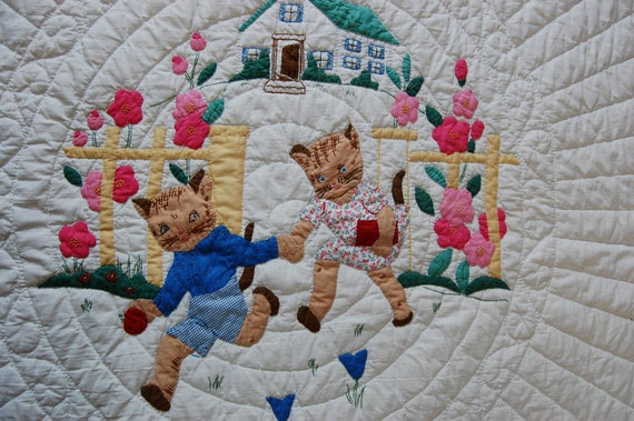FOR CINDY Absolutely Adorable Vintage 1940s Kittens Go to School Quilt EXCELLENT Condition Nursery Child's Room