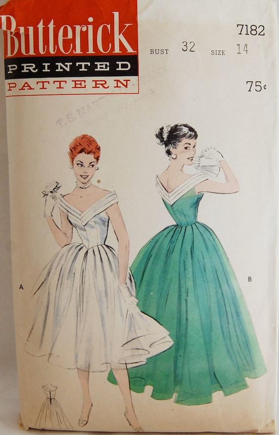 "Vintage 1950s Butterick Misses' Evening Dancing Dress Pattern 7182 Size 14 (32"" Bust) RARE"