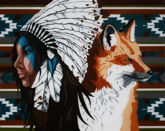 "American Indian Woman and Fox Painting Titled ""The Elements of a Woman: Clever"""