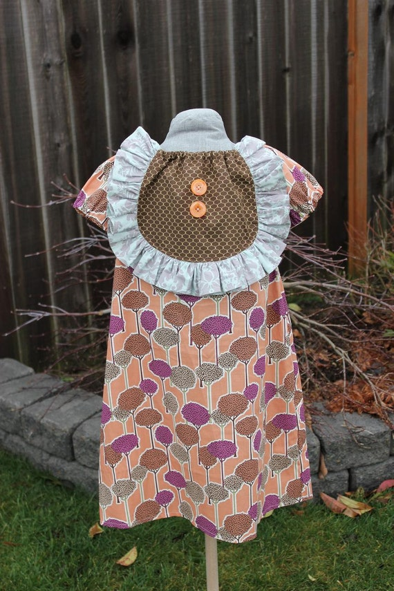 The Vintage Dress in Dainty - Boutique Peasant Styled Ruffle Bib Dress Girls Size 7-8