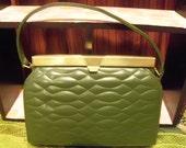 1950's Meyer Olive Green Quilted Look Handbag