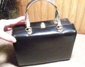 Vintage Lewis Black Leather Box Purse with Metal Handles