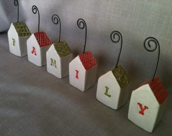 Holiday picture holders, placecard holders, business card holders, recipe card holders
