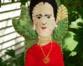 Hand-Stitched Frida Kahlo in a Garden Finger Puppet - One of a Kind Folk Art