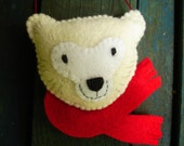 Made-to-Order, Hand-Stitched, Folk Art Polar Bear Ornament
