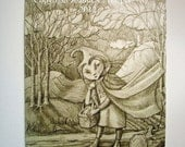 Dark Ridinghood, ACEO ATC Giclee Print From Original Drawing