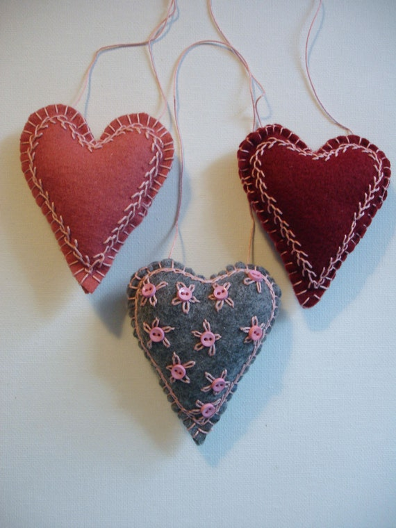 Set of Three, Sweet Embroidered Felt Heart Ornaments - Sale, Were 19.99