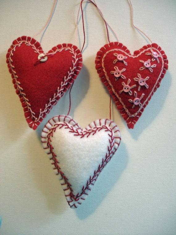 Set of Three, Sweet Embroidered Felt Heart Ornaments - Folk Art Christmas