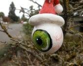 Christmas Handmade Ornament, Eyeball in Santa Hat