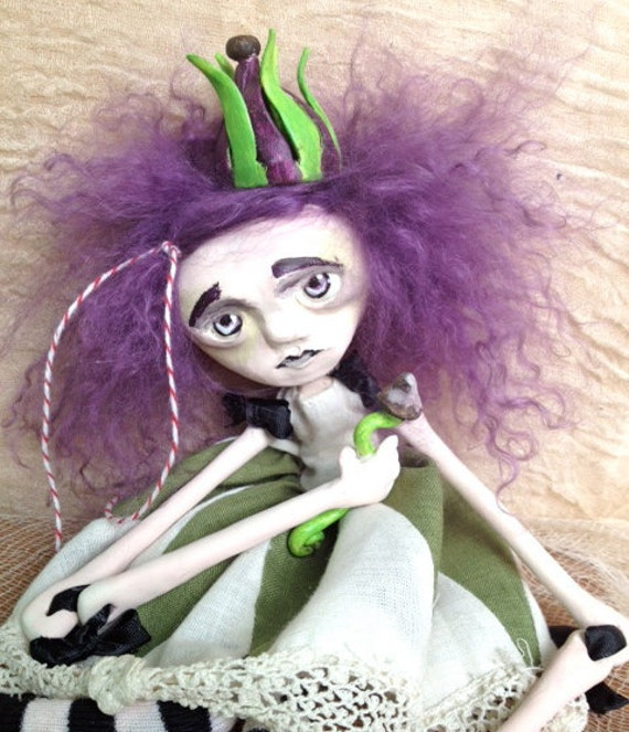 Polymer Clay Art Doll The Grass Princess of Woodstock Park Cora