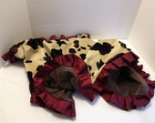 Western Baby Blanket Cow Print and Brown With Red Ruffle