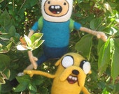 Handmade OOAK Needle Felted Plush Dolls inspired by Finn and Jake from Adventure Time