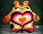 Heart Alien Mini alien in tans pinks orange and purple stuffed animal Muser