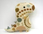 Rex Spotted, stuffed dinosaur, tyrannosaurus rex, ivory cream, green, blue, tan, brown, plush stuffed animal Muser