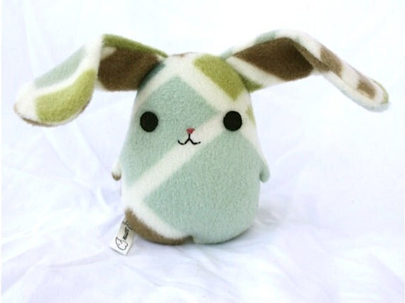 Eggbunny Big Grid, rabbit plush bunny, blue, brown, green, cream, stuffed animal Muser