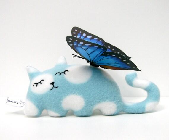 Sleepy Kitty Blue cat plush stuffed animal Muser Autumn Fall snuggly gift
