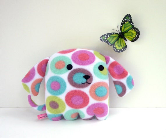 Puppy Color Spots, stuffed puppy, blue, lime green, pink, orange, plush fleece dog Muser
