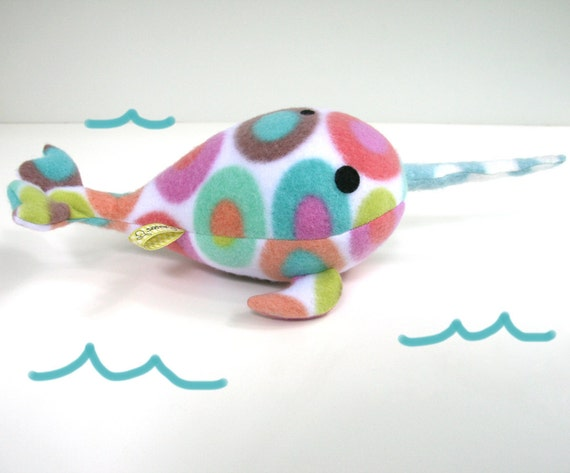 Narwhal Color Spots, stuffed narwhal plush, spotted, blue, orange, green, pink, white, stuffed animal Muser