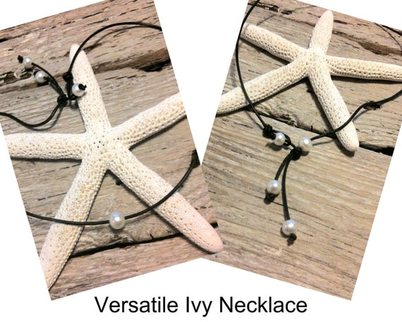 """Seaside Pearls """"Ivy"""" Necklace Freshwater Pearl and Leather"""