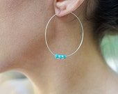 Sterling Silver Hoops with Turquoise Accents