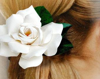 Gardenia Hair Clip Life Size