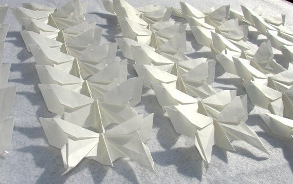 50 Origami Butterflies Large White Wedding  Or Party Origami  Paper 3D Butterfly