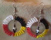 Native American beaded medicine wheel earrings
