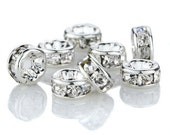 Silver Rhinestone Rondelle Spacer Beads -10mm -50 pieces