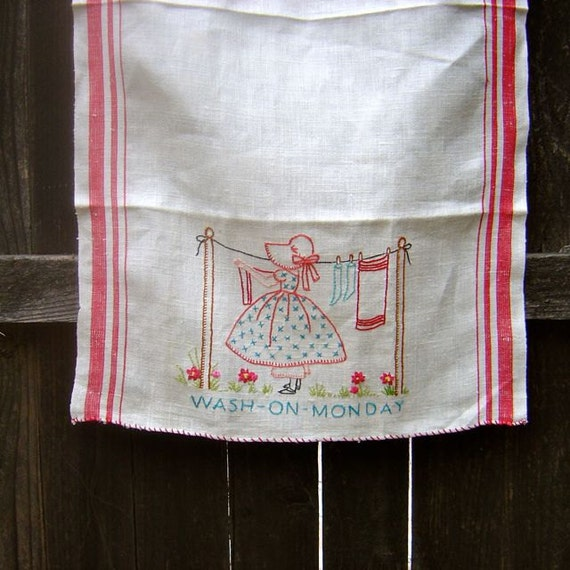 vintage hand embroidered cotton weekday tea towel:  monday