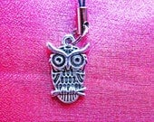 Silver Owl Phone Charm