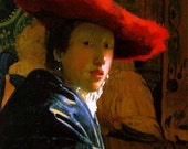 Print by Vermeer, Famed Dutch Painter, of Lady in Red Hat