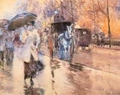 Painting Rainy Day Fifth Avenue by American Impressionist Childe Hassam. Print