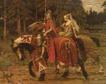Mens Gift Medieval Regency Print of Knight and Lady on Horseback--Alphonse Mucha.