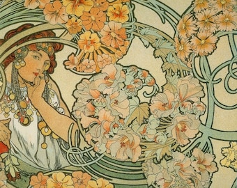 ART NOUVEAU Art Print of Lady Surrounded by Flowers by Alphonse Mucha