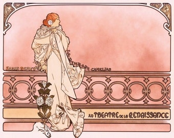 Art Nouveau Gift Wall Decor Art Alphonse Mucha Theater Ad for Sarah Bernhardt