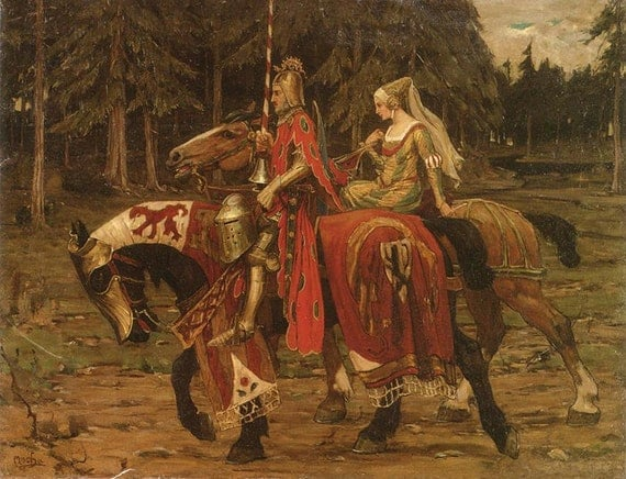 Mens Gift Medieval Regency Print of Knight and Lady on Horseback--Alphonse Mucha.