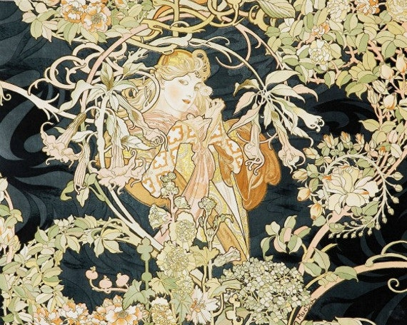 Art Nouveau Print Of Beautiful Woman With Flowers On Black By