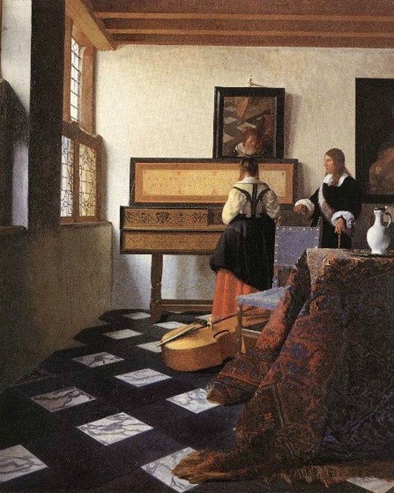 Print of Wonderful painting by Vermeer of Music Lesson