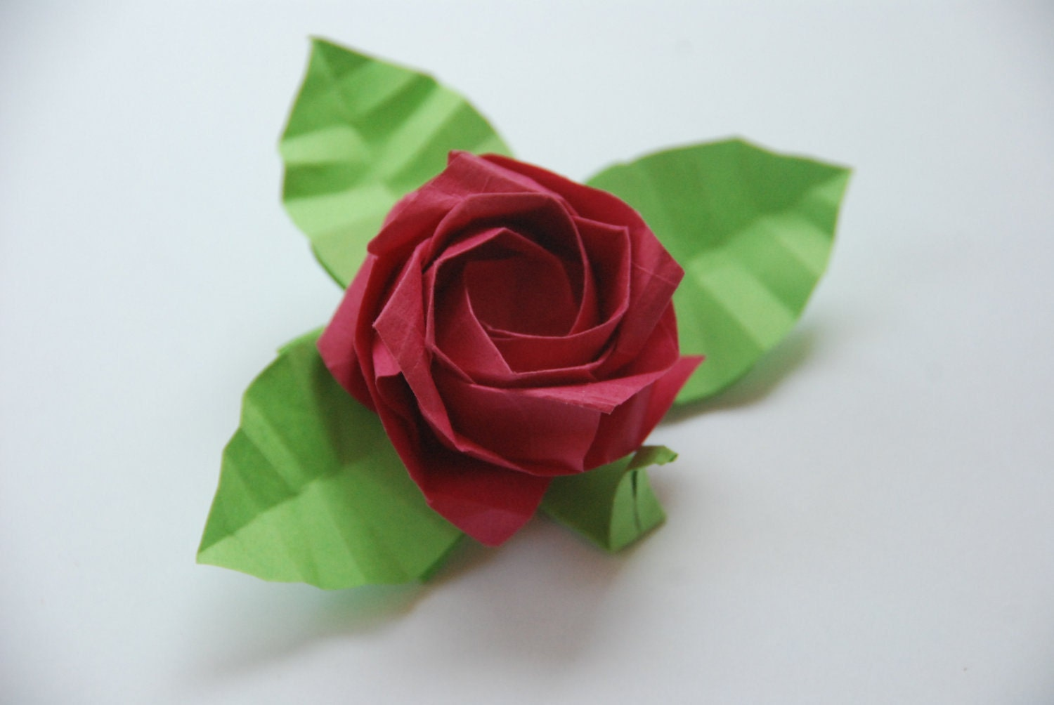 Origami Rose with Stem and Leaves-Four Blue Roses Customized - photo#20