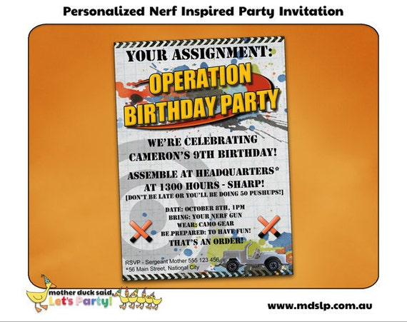 It is a picture of Resource Free Printable Nerf Party Invitations