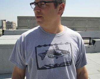 Men's hand-printed t-shirt with catfish