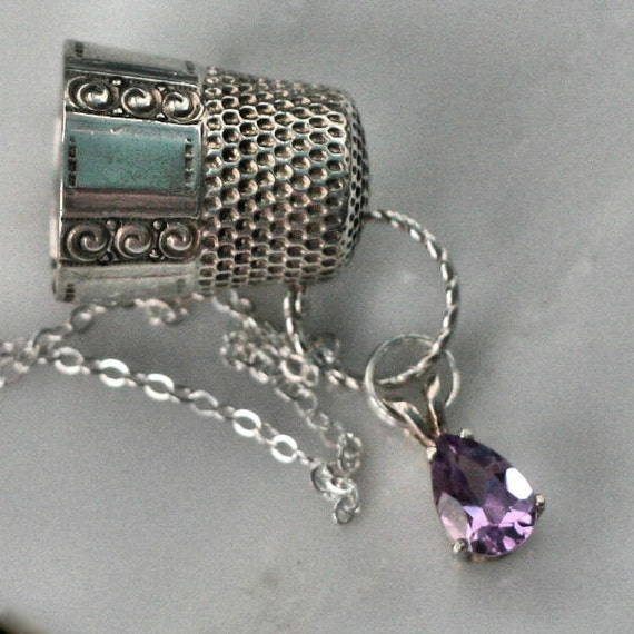 Peter Pan Thimble Kiss Necklace Pendant In Vintage Sterling  Silver and Amethyst
