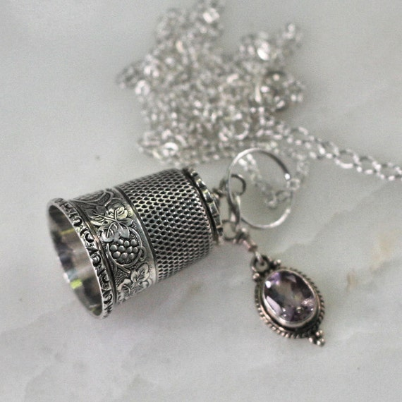 Thimble and Acorn Kiss Peter Pan and Wendy in Solid Sterling Silver and Natural Amethyst